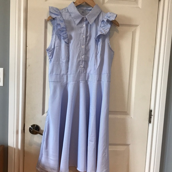 Blue and White Striped Dress with ruffled sleeve
